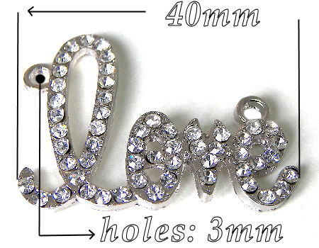 Entrepieza LOVE Strass 40x31mm Agujero 3mm x 1 - PLATINUM
