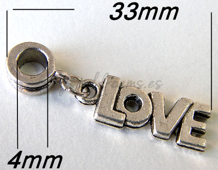 Metal Pendant - Love - 33mm - Agujero: 4mm