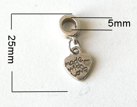 Colgante metal - Made with Love Heart- 25mm - Agujero: 5mm