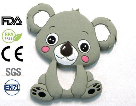 Silicone antibacterial Teether 90mm Koala GREY