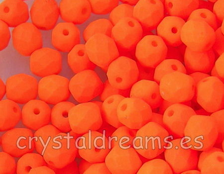 Facetadas 6mm ORANGE NEON MATE