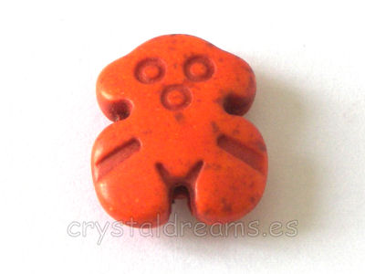 Oso de Turquesa sintetica 18x15x5mm Aguj: 1,5mm - Orange