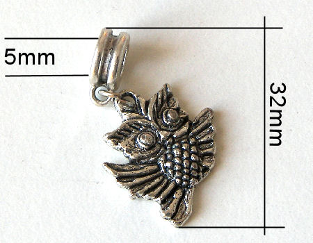 Colgante metal - Owl - 32mm - Hole: 5mm
