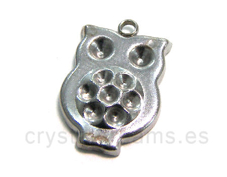 Stainless stell pendant Owl x rhinestone 19x13x3mm Hole:1,5mm