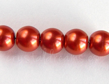 Perles de verre - 8mm - Trou: 1mm - Indian Red