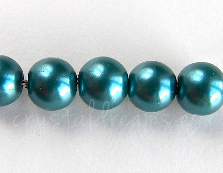 Perle di vetro - 8mm - Buco: 1mm - Metal Blue