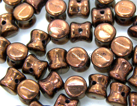 10 Cuentas Pellet by Preciosa™ 4x6mm - Jet Luster Chocolate