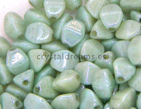Pinch Beads 5mm - 25 Piezas - Color: White Green Lustre