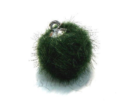 Pom Pom de 15mm - Agujero 1,5mm - Silver/Green