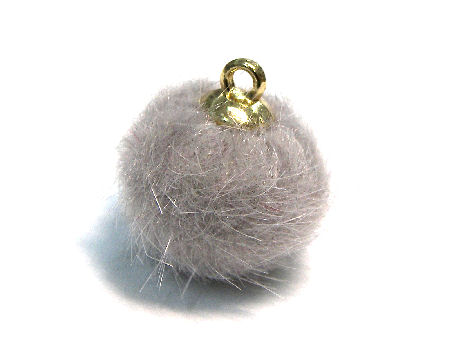 Pom Pom de 15mm - Agujero 1,5mm - Golden/Light Grey