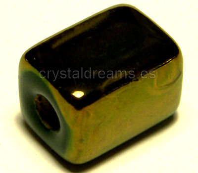 Perles Porcelaine Green Bronce - 10x8x8mm Trou: 2,5mm