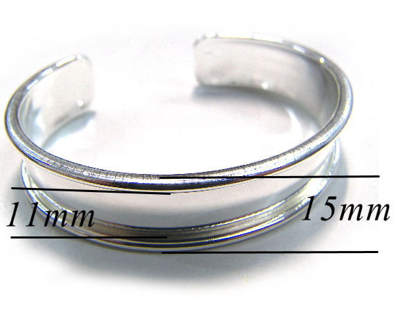 Pulsera Metal regulable 55-65mm - 15mm - Plateado