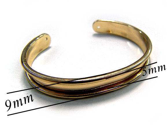Pulsera Metal regulable 55-65mm - 9mm - Dorado