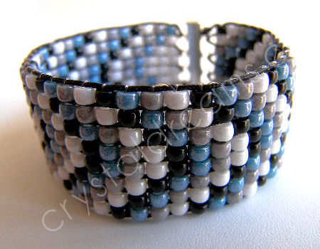 "Tutorial Pulsera ancha ""Mar"" - Cristal checo Matubo 100%"
