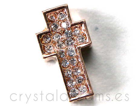 Entrepieza CRUZ Strass 15x8x4mm Agujero 2mm x 1 - COPPER