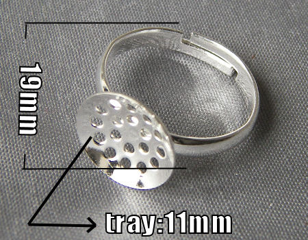 Anillo base perforada 11mm Tray - Silver Color