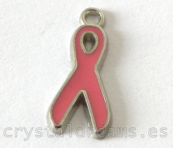 Colgante de metal - Pink Ribbon - 20x9mm Agujero: 1,5mm