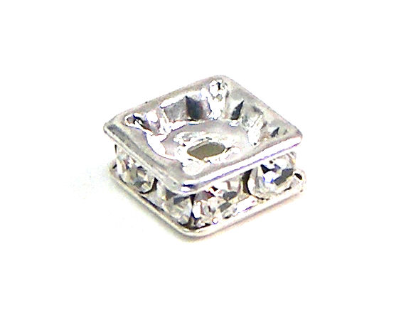 Rondel strass 6mm plateado Crystal