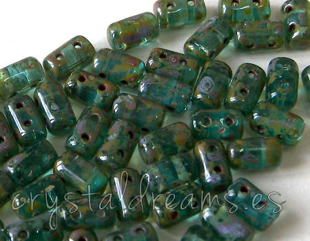 10 gr. Rulla 5x3mm - Aquamarine Travertin Dark