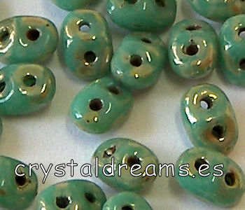 10 gr Superduo® 2,5x5mm Ag:0,8mm OPAQUE GREEN TURQ PICASSO