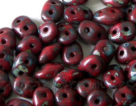 10 gr Superduo® 2,5x5mm Ag:0,8mm RED CORAL DARK TRAVERTIN