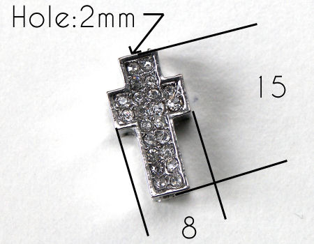 Entrepieza CRUZ Strass 15x8x4mm Agujero 2mm x 1 - PLATINUM