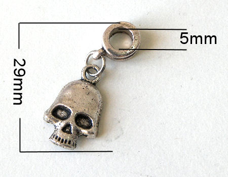 Colgante metal - Skull - 29mm - Agujero: 5mm
