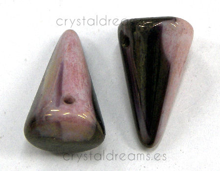 Spike 12x18mm Agujero 1mm Rose-Jet Hematite