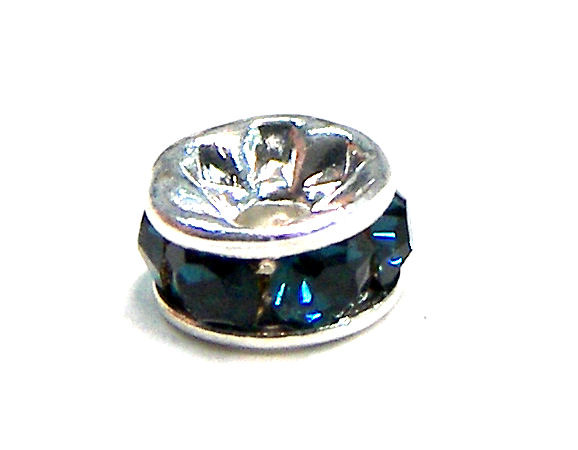 Distanciadores de metal Silver 4mm Blue Zircon