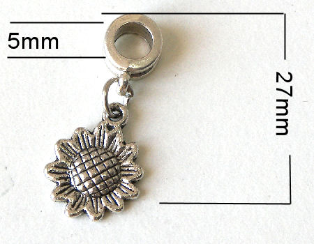 Colgante metal - Sunflower - 27mm - Agujero: 5mm