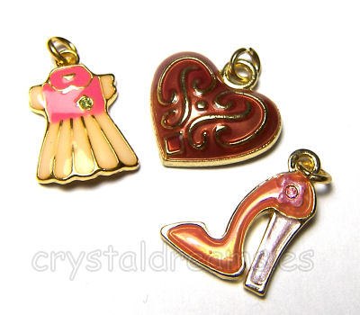 Colgantes de metal Trio - Dress/Heart/Heels - Gold