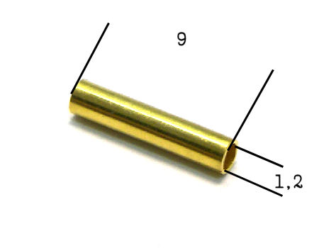 Tubos Metalicos Dorado 9mm Agujero: 1,2mm