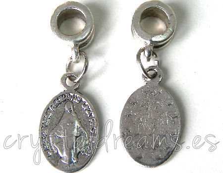 Metal Pendant - Virgencita - 29x9mm - Agujero: 4mm