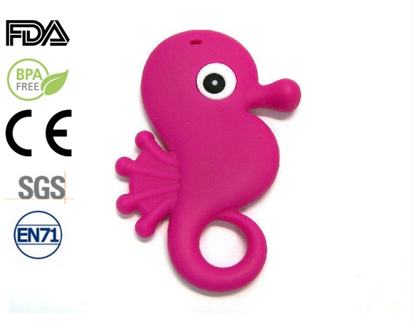 Silicone antibacterial Teether - 85mm Seahorse PINK