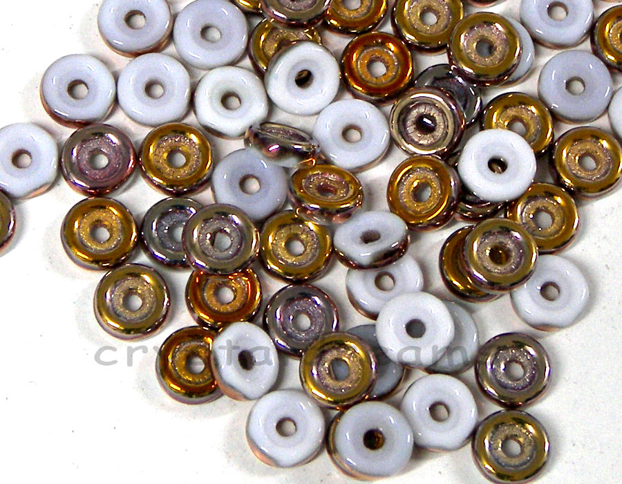 Cuentas Wheel Beads - 6mm - Opaque White Capri Gold - 5gr.
