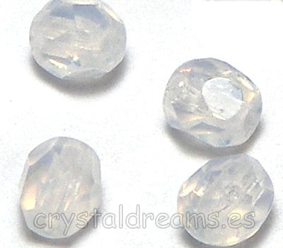 Facetadas 4mm WHITE OPAL
